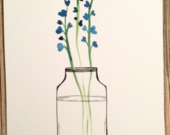 Bluebell Jar Watercolor UNFRAMED