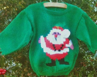 Childs boys girls toddlers Christmas hand knit Father Christmas Santa motif picture holiday sweater jumper