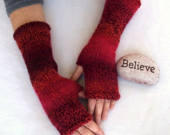 hand knit arm warmers , fingerless mitts, texting mittens - tweed stripes in rusty reds, ooak