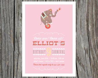 Circus Carnival Birthday Party Printable Invitation