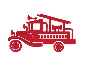 """CUSTOM 48"""" Vintage fire engine / firetruck / fire truck - vinyl wall decal"""