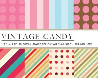"Vintage Candy Digital Scrapbook Paper Pack - 8 Papers - 300 DPI - 12"" x 12"""