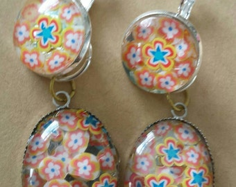 Sale was 18 now 16uk Silvertone Oval Cabochon  Multicoloured faux milli fiori earrings with dangles.