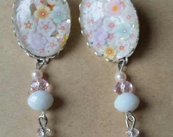 Sale was 17 now 15uk Silvertone Oval white Blossom Cabochon Leverback Dangels with Faux Milli Fiori earrings.