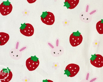 Strawberry Bunny in Natural, Kiyohara Fabrics, Made in Japan, Medium Weight 100% Cotton Canvas Fabric, MOWF-52