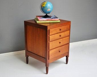 Handmade Mid-Century Teak Sewing Storage Cabinet