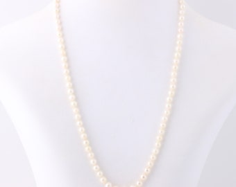 """Graduated Freshwater Pearl Necklace 18"""" - 14k Yellow Gold Knotted Strand June Q4063"""