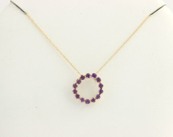 """Amethyst Pendant Necklace 18""""- 10k Yellow Gold Fine Rope Chain .56ctw f2925"""