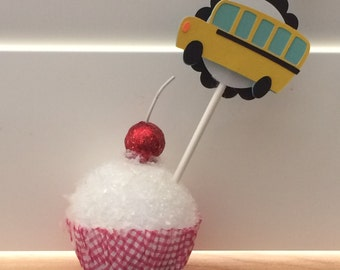 Bus, Yellow School Bus, Wheels on the Bus, Cupcake Toppers -- SET OF 12