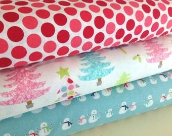 Christmas Fabric Bundle of Three, All Fabrics by Riley Blake,  Christmas Basic Tree, Cozy Christmas, and Doddlebug Designs