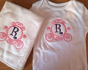 Onesie/Burp Cloth Set Embroidered Monogram