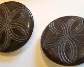 Vintage Carved and Layered Black and White Casein Buttons Matching Pair