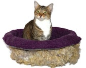 Cat Bed Felted Wool Fleece Cat Basket - Romney on Amethyst  - Kat's Cradle - Supporting Small US Farms - Ready to Ship