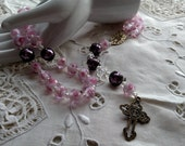 Rosary, Roses in Pink, Pink Roses Rosary, Rosary with Pink Roses, free shipping