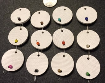 12 - White Painted Wooden Circles or Hearts for Birthday Boards - Ready to Use