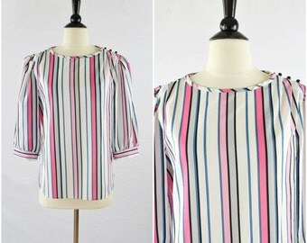 Vintage ribbon candy striped blouse / vertical stripe pink button shoulder blouse