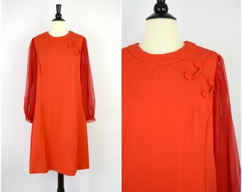 Vintage red sheer sleeve mod dress with swirl detailing