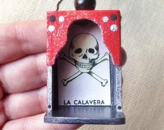 Nicho Ornament - La Calavera. Red and Black. Colorful glittery accents. Loteria art.
