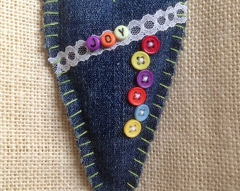 Hand Stitched Heart Ornament/Decor: recycled denim, vintage lace, colorful alphabet beads. JOY. Susie Carranza Studio.