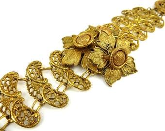 Brass Filigree Flower Bracelet Statement Jewelry Art Deco Style 1940s Vintage Jewelry Trembler Movement