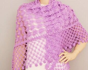 Lilacs crochet shawl, Bridesmaid gift shawl,  crocheted shrug capelet wrap, CHOOSE YOUR COLOR