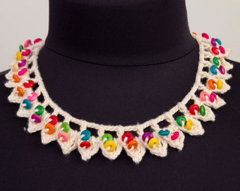Beaded necklace,crochet  oya necklace  ,crochet  bip necklace,crochet necklace, fiber  necklace ,