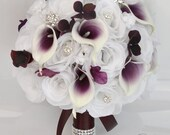 "17 Piece Package Bridal Bouquet Wedding Bouquets Silk Flowers Bride Picasso Calla Lily PLUM/EGGPLANT/PURPLE White ""Lily of Angeles"" PUWT05"