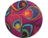 Mouse Pad - Round Fabric mousepad - Peacock feathers magenta pink and teal blue- Home office / computer / Electronic