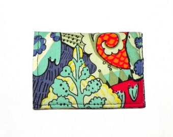 Business Card Holder - Flowers in blue, yellow, red, orange and green.