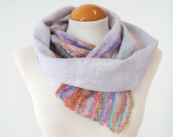 Hand Dyed, Nuno Felt Scarf on Silk Chiffon, Summer Flower Garden Collection, Lilac with Pastels