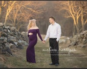 Maggie eggplant slim fit maternity gown with sleeves/wedding gown/bridal gown/photo props/senior prop