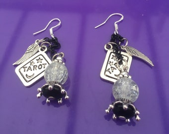 Temperance Crystal Ball and Tarot Earrings