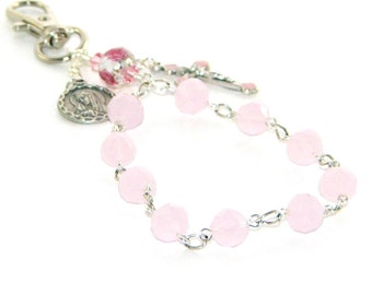 Car Rosary - Travellers Clip-On RosaryOur Lady Medal & Pink Crystal Beads