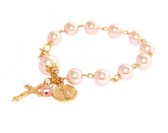 Pretty Pink & Gold Rosary Bracelet, Swarovski® Pearls with St Michael Charm and Cross