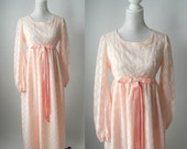 Vintage 1960s Pink & White Chiffon Floral Maxi Dress