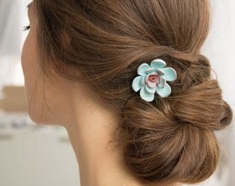 Blue Succulent Hair Pin Hairpin Polymer Clay Bobby Pins Hair Decoration Accessory Women Handmade Decoration Wedding Bridal Gift Hair