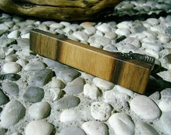 TIE CLIP - Wooden WALNUT Wood Handmade Tie Clip