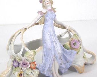 VTG German Porcelain Maiden with Flowers Vase Centerpiece Bisque Porcelain Jardinière