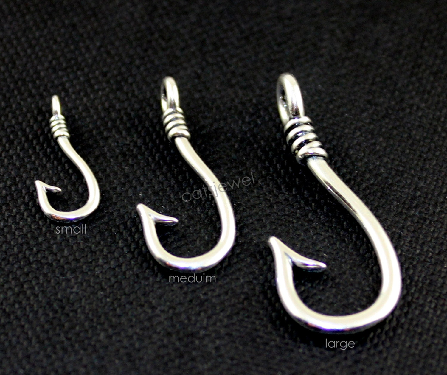 Fish hook small medium or large hook sterling silver fish for Micro fishing hooks
