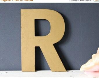 Vintage Shop Letter R, gold, vintage signage