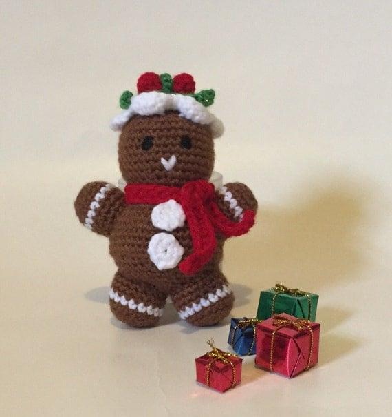 Gingerbread Man Amigurumi hand crocheted Ready to by meddywv