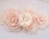 Blush Sash Chiffon Blossoms Blush Satin Sash Blush Flowers Flower Girl Bridesmaids Wedding Sash Bridal Sash