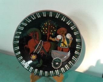 Vintage Swiss plate, folk art pottery, Handarbeit , decorative wall plate, wall decor, collectible plate, Swiss  farm