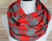 Red & Gray Buffalo Plaid Scarf, Red Plaid Infinity Scarf, Circle Scarf, Red Flannel Scarf, Ohio State Scarf