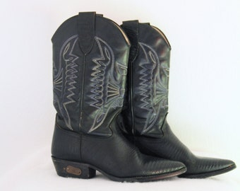 1980s Vintage Cowboy Boots Black Leather Alligator Butterfly Eagle Design Embroidery Loredano Womens US 7.5