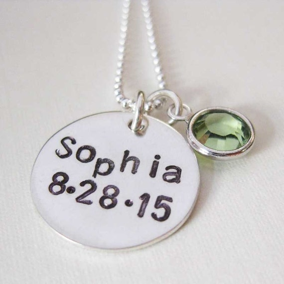 baby name necklace baby necklace with birthstone