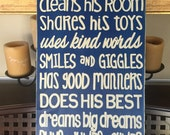 A TRUE SUPERHERO Rules Sign Wall Accent Piece HP Wood Big Brothers Room Decor