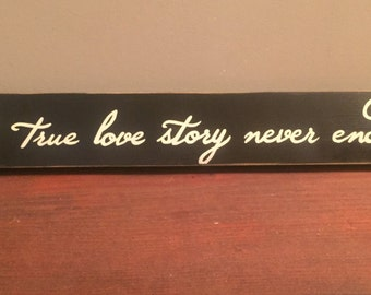 A True Love Story Never Ends Sign Plaque Wedding Marriage Anniversary Valentines Day Decor