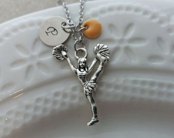 Cheerleader Necklace. Initial Necklace. Silver Cheerleader Pendant. Personalized Gift. Hand Stamped. Sport Jewelry, Team Cheerleader