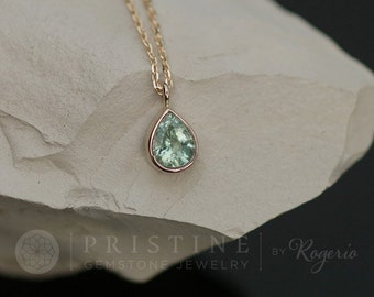 Tear Drop Paraiba Color Tourmaline Layering Necklace with Delicate Cable Chain Keepsake Gift for Her